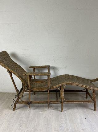 Chaise longue en osier vintage 60's