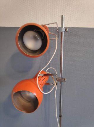 lampadaire 2 spots vintage en métal orange