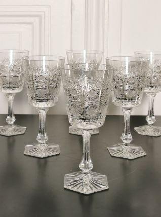 6 verres en cristal gravé Saint Louis