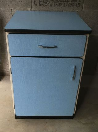 Meuble de cuisine en formica bleu