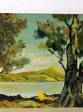 Huile représentant un paysage méditerranéen.  Bompaad