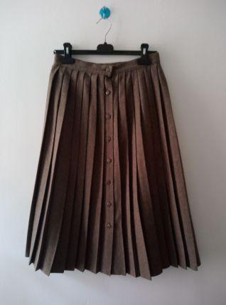 Jupe plissée laine mélangée