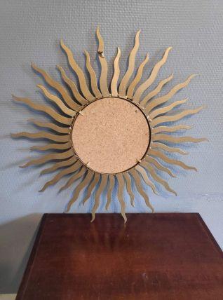 miroir soleil en métal doré vintage