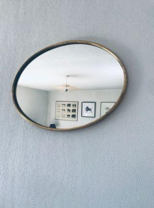 Miroir italien ovale en laiton doré