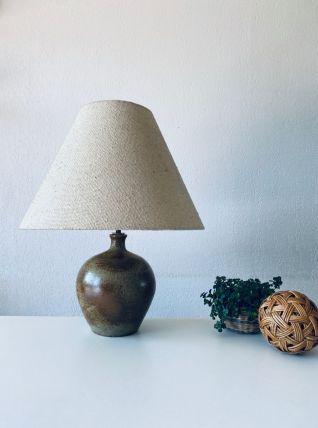 Lampe bohème en grès, abat jour en laine