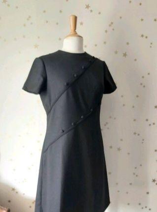 60s robe baby doll trapèze crèpe noire L