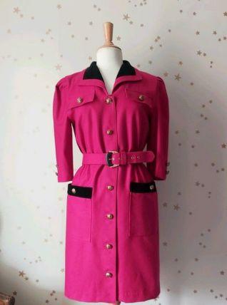 80s robe laine fuschia velours noir S/M