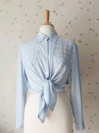 80s chemise plastron ajouré bleu oversize