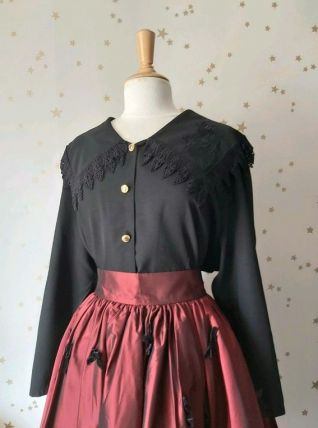 90s blouse col oversize dentelle broderie noire