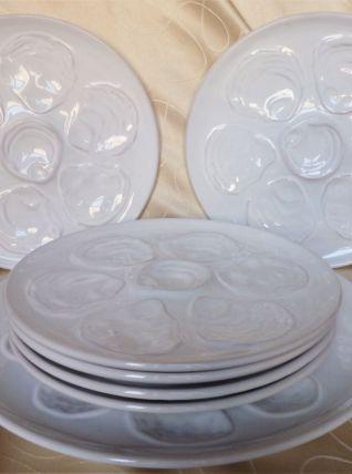 Service à huîtres blanc, assiettes et plat à huîtres céram.
