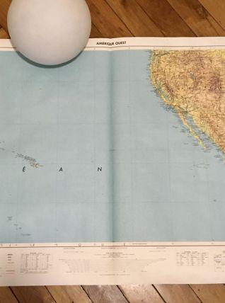 Carte géographique Amérique Ouest IGN 1965
