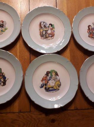 Lot de 6 assiettes à dessert illustrées contes célèbres