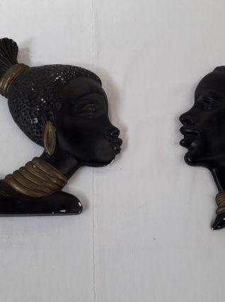 2 têtes en plâtre années 50 / Déco vintage