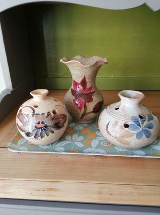 Ensemble de 3 vase et pique fleurs Vallauris