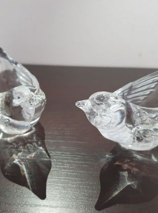 Paire bougeoirs oiseaux en cristal
