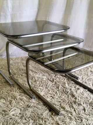 Tables gigognes métal chromé et verre fumé - années 70