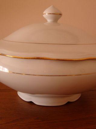 Soupière signée A. Deshoulières en porcelaine fine