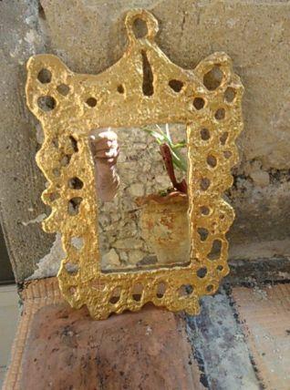 Miroir d'artiste dore Fondica