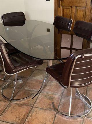 Ensemble table Boris TABACOFF et ses 6 chaises. 1970.