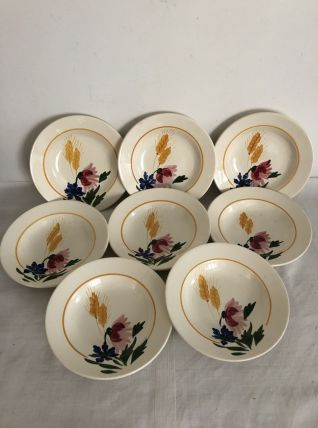 8 assiettes creuses, Sarreguemines, modèle Cocorico