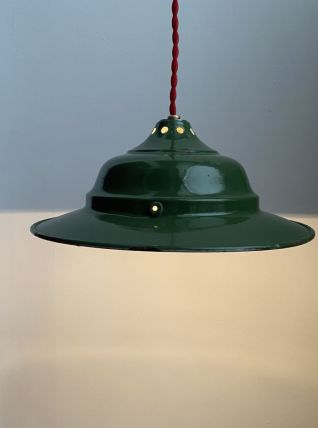 ANCIENNE LAMPE INDUSTRIELLE SUSPENSION EMAILLEE 26,5 cm