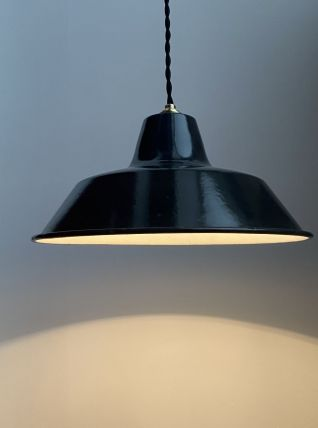 ANCIENNE LAMPE INDUSTRIELLE SUSPENSION EMAILLEE 30 cm