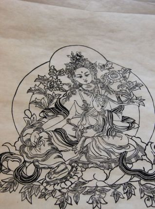 estampe Tara verte bouddhisme tibétain