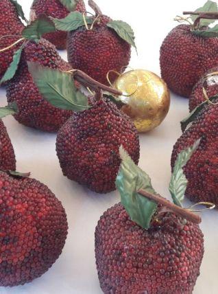 Décoration de Noel Fruits  perles rouges