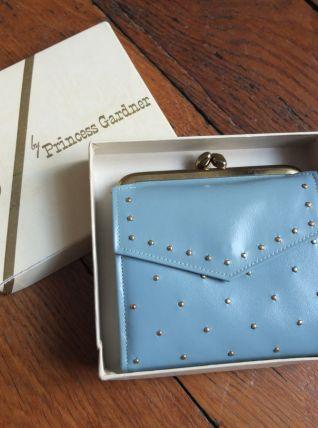 porte-feuille bleu glacier  en cuir, neuf, vintage