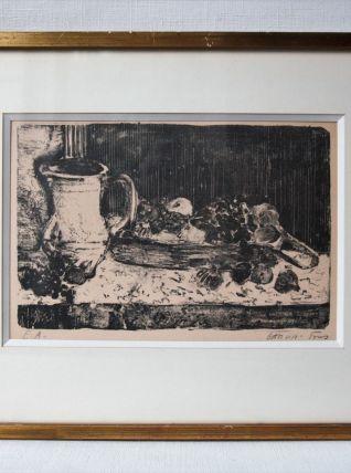 """""""Nature morte"""" Pierre Garcia Fons lithographe encadrée."""