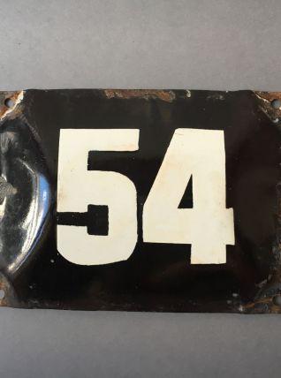 """ANCIENNE PLAQUE DE RUE NUMERO """"54"""""""