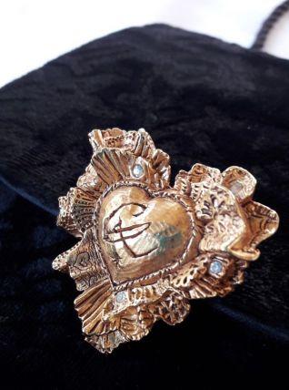 Broche Coeur Christian Lacroix métal doré