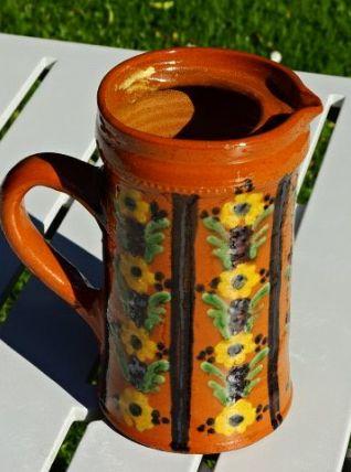 Grand pichet provençal fleuri ancien  pot vase carafe
