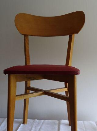 2 Chaises année 60 en bois et assise rouge