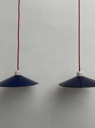 LOT 2 ANCIENNES SUSPENSIONS EMAILLEE BLEUES