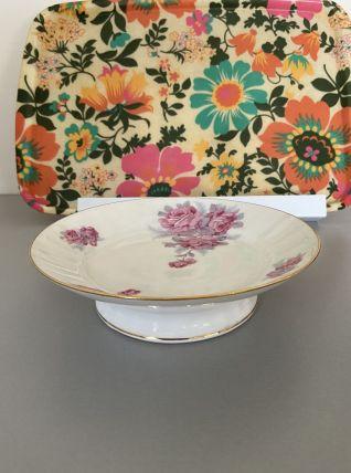 Plateau porcelaine fleuri ou coupe à fruits