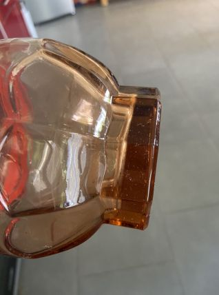 Carafe vintage rose liseré rouge