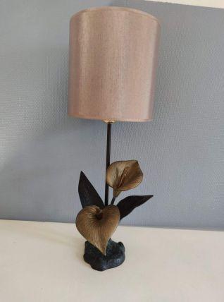 lampe fleurs d'arum en laiton noir et bronze