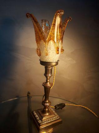 lampe bronze laiton cuivré tulipe ancienne   murano ( italie