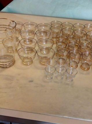 Ensemble à digestif (verre carafe) doré année 70