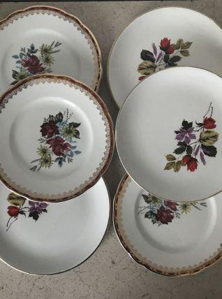 Série de 6 assiettes en porcelaine