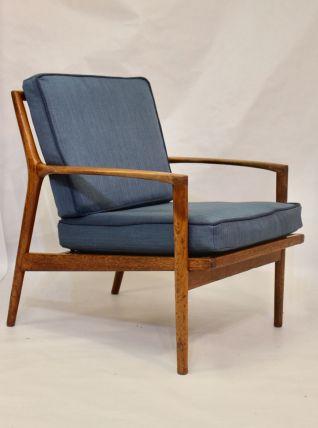 Fauteuil scandinave 1960 structure teck tissu chevron.
