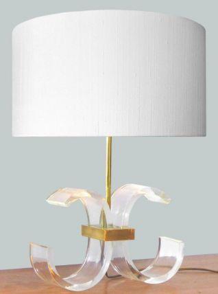 LAMPE PLEXIGLASS ET LAITON DORÉ