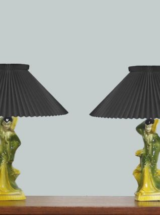 PAIRE DE PIEDS DE LAMPES EN CÉRAMIQUE JAPONISANTE