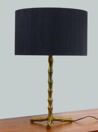 LAMPE EN LAITON DORÉ AU BAMBOU STYLISÉ