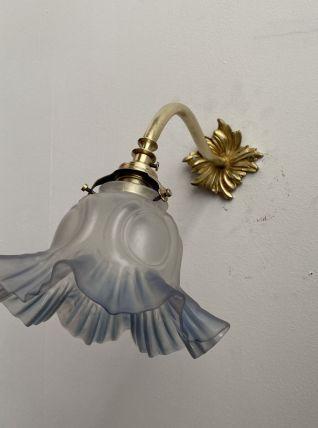 ANCIENNE LAMPE APPLIQUE COL DE CYGNE TULIPE