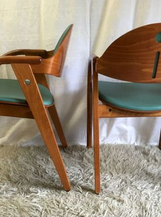 Set de 2 Fauteuils Baumann bois massif – design 80