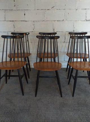 6 chaises Fanett Tapiovaara vintage années 60