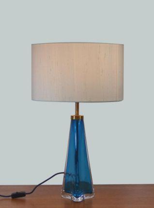 Lampe en verre bleu Orrefors 1960