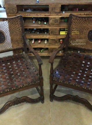 Paire de fauteuil cuir et cannage